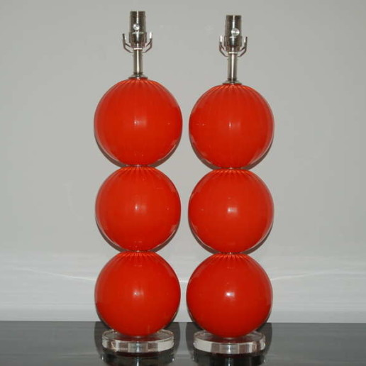 Handblown Glass Lamps in Vermillion by Joe Cariati