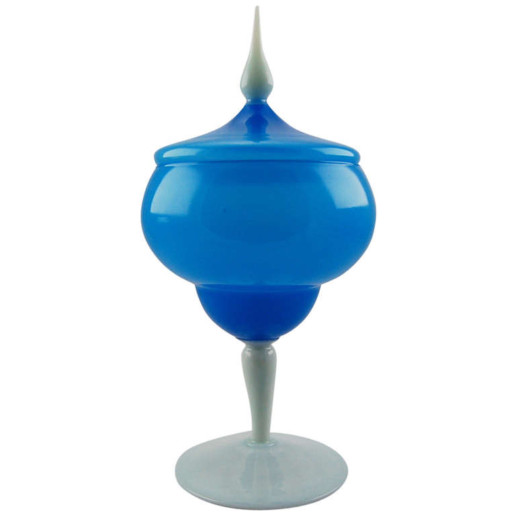 Vintage Murano Lidded Compote in Blue Opaline