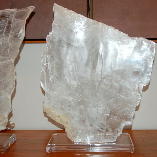 Matched Pair of Selenite Table Lamps