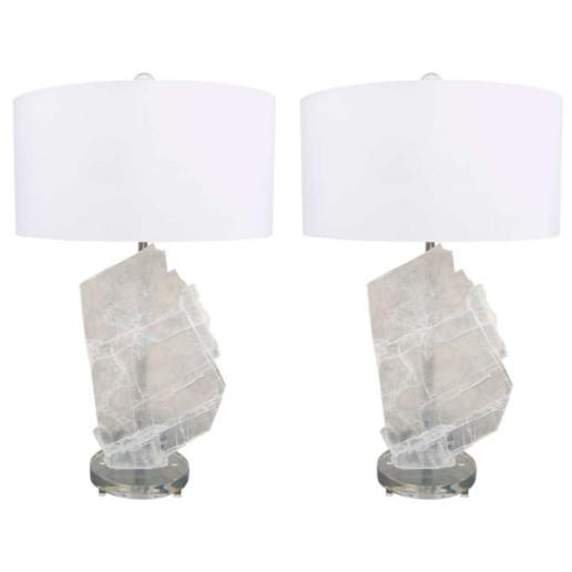 Pair of Selenite Table Lamps by Swank Lighting