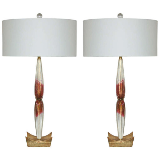 Vintage Pair of Cranberry and Cream Murano Teardrop Lamps on Gold
