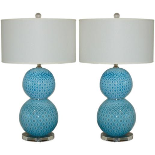 Giorgio Ferro - Stacked Ball Murano Lamps with Peacock Design