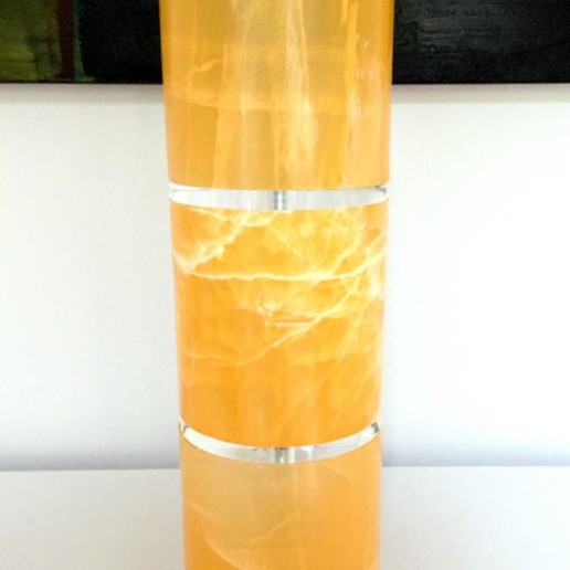 Pair of Tangerine Calcite Column Table Lamps