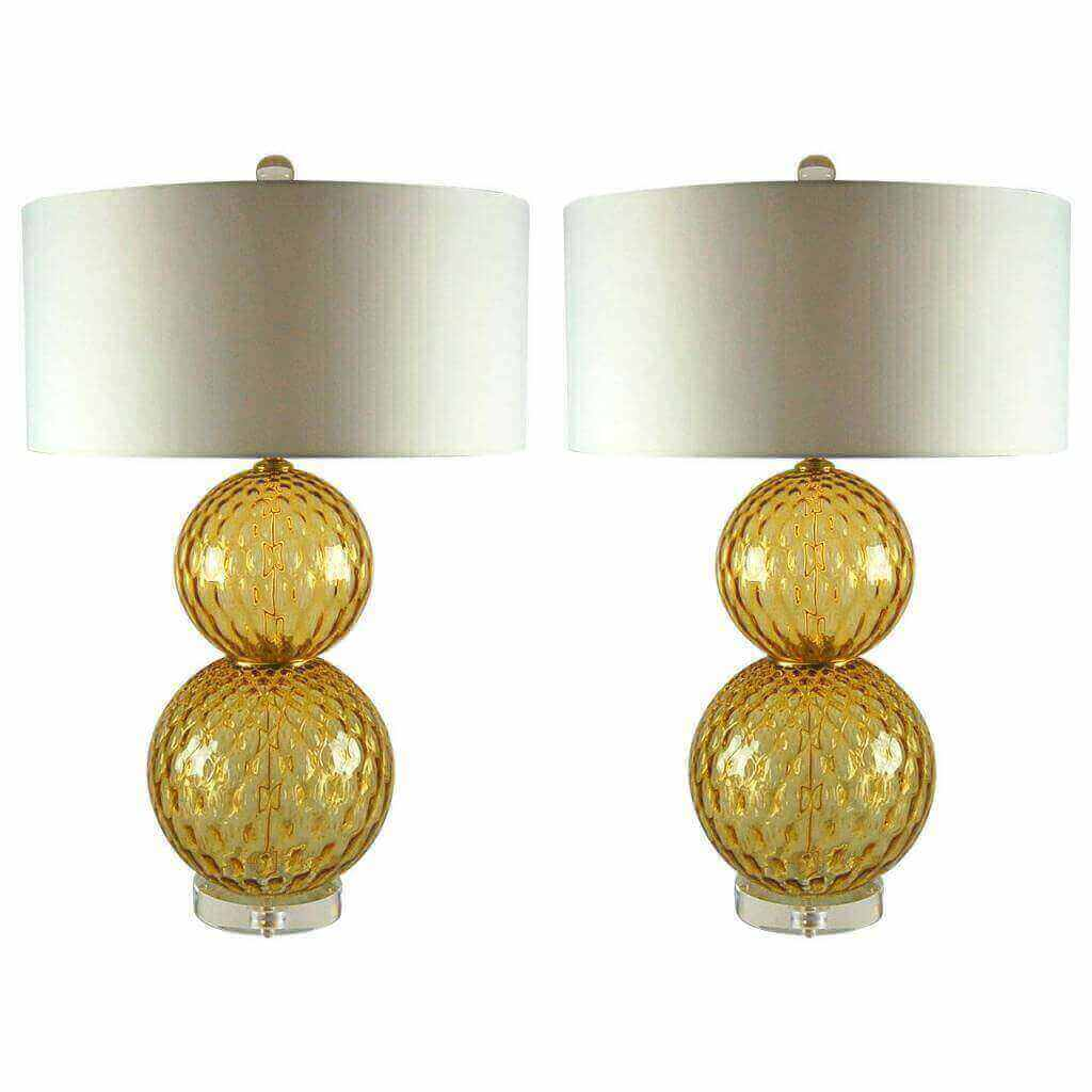 Pair of Vintage Murano Stacked Ball Lamps in Harvest Gold