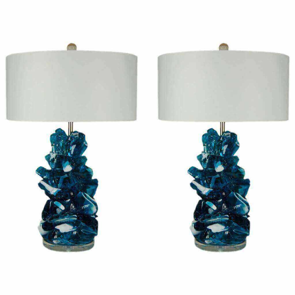 Rock Candy Lamps by Swank Lighting in Striped Aqua