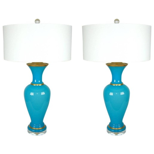 Magical Pair of Vintage Murano Blue Opaline Lamps