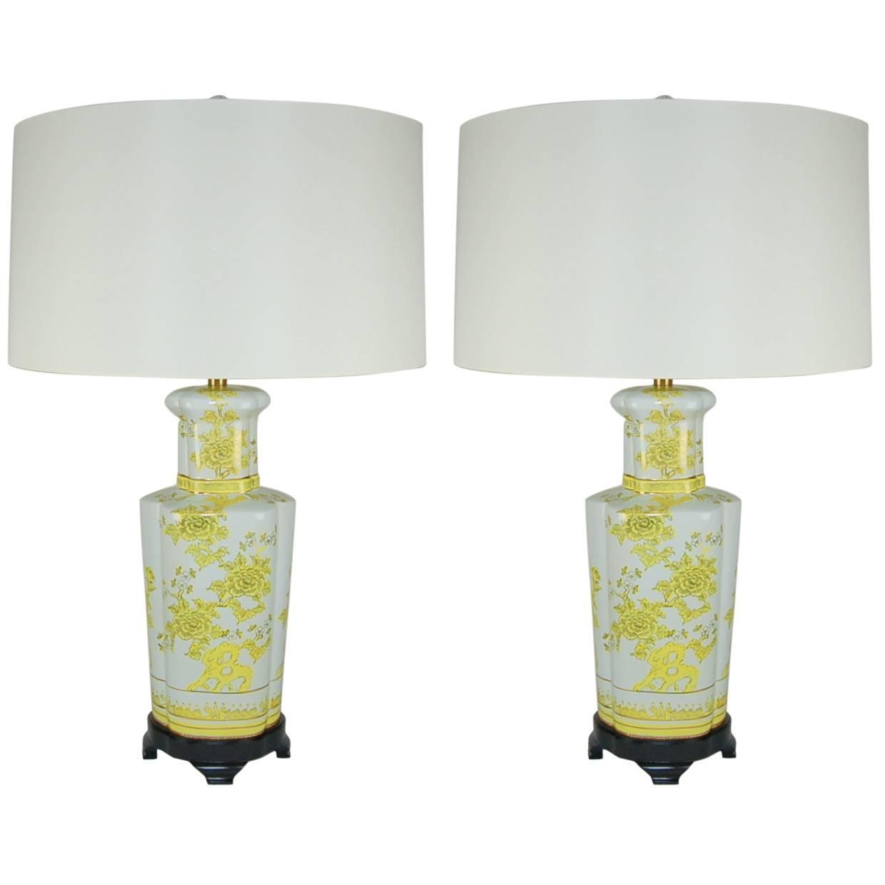 Pair of Vintage Porcelain Lamps by The Marbro Lamp Company