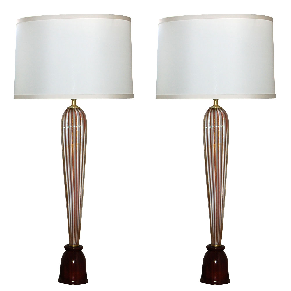Barovier & Toso - Circus Tent Stripes of Plum & Cream with 24kt Gold