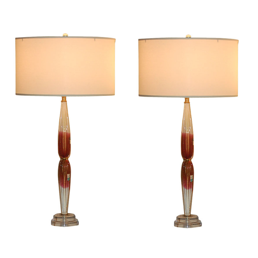 Barovier & Toso - Cranberry and Cream Murano Bedside Lamps
