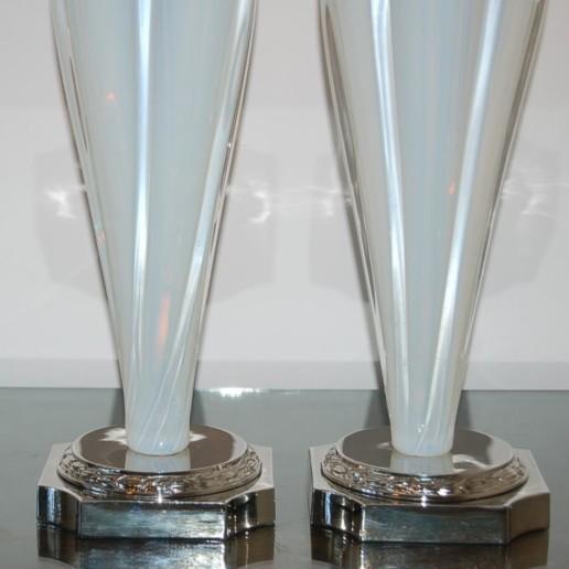 Opaline Murano Table Lamps on Nickel