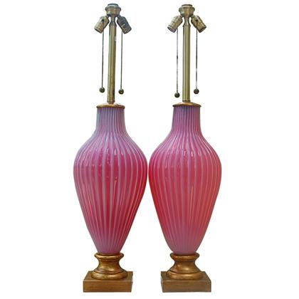 The Marbro Lamp Company - Murano Lamps in Raspberry Sherbet Opaline Glass