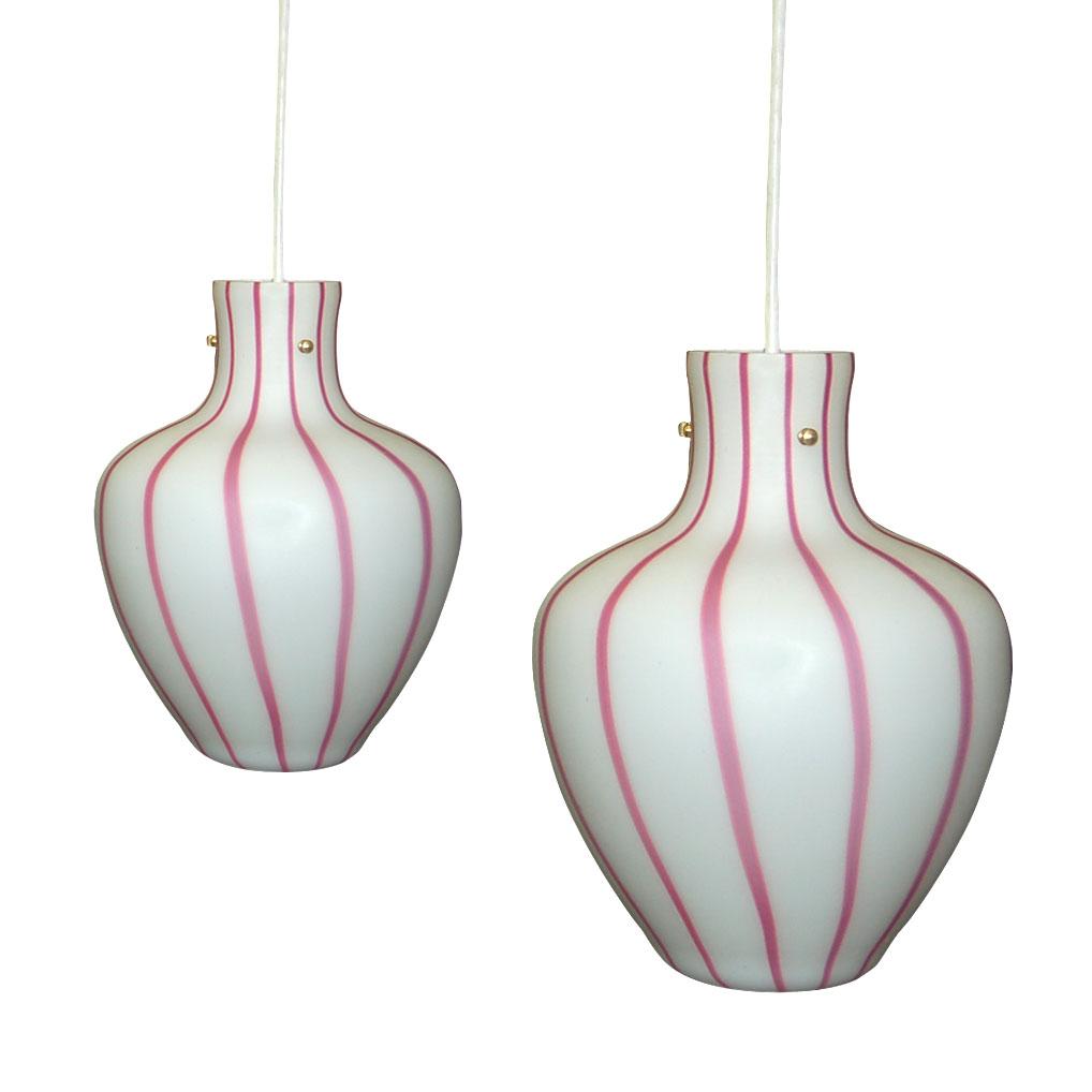 Raspberry and White Murano Lamp Pendants