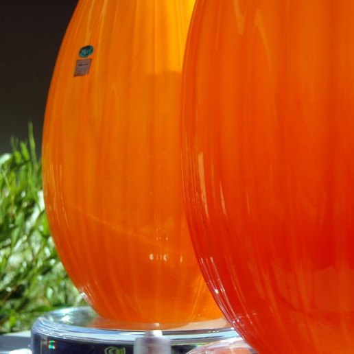 Big Orange Murano Lamps on Lucite with Polished Nickel
