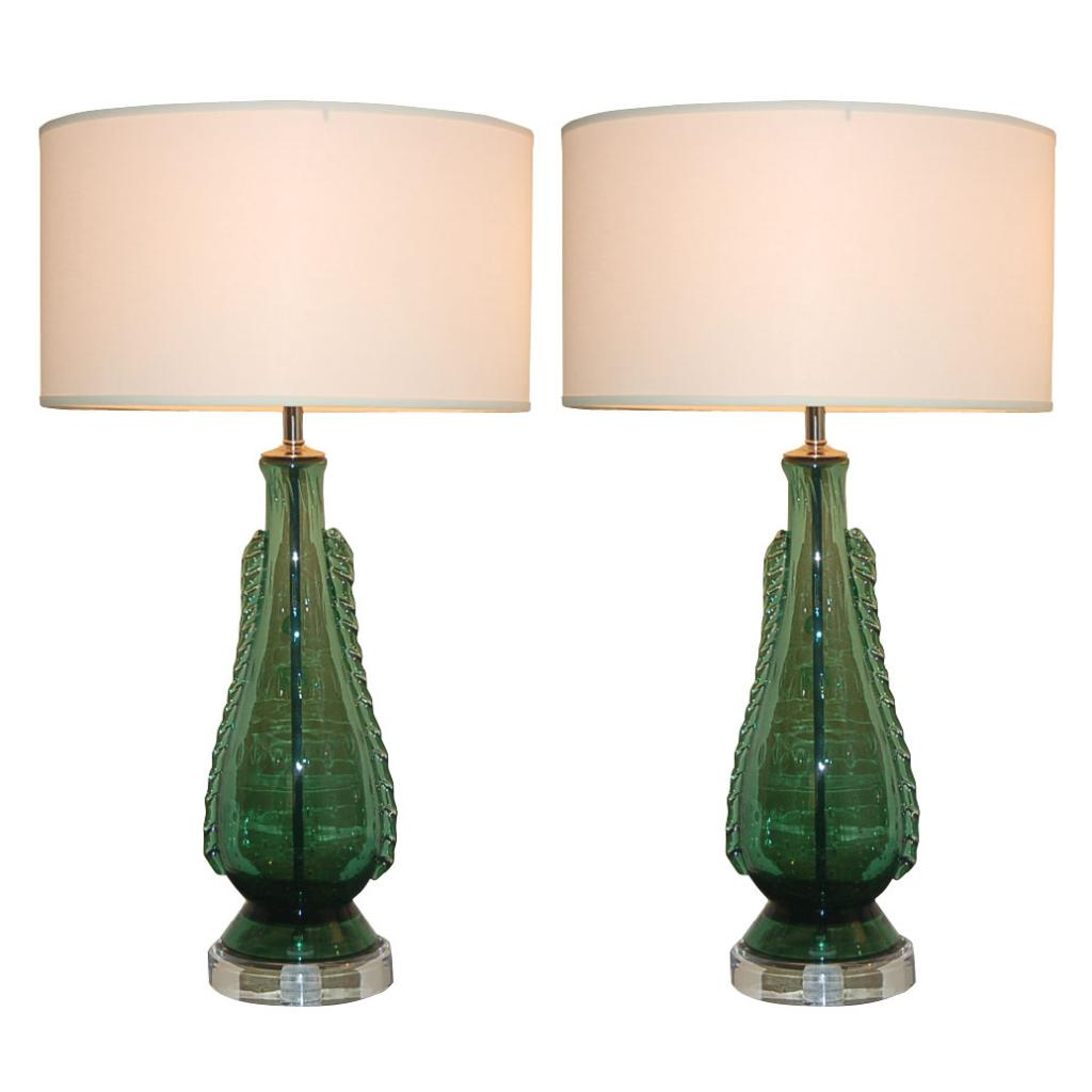 Deep Green Vintage Murano Lamps with Rigaree Fins on Lucite