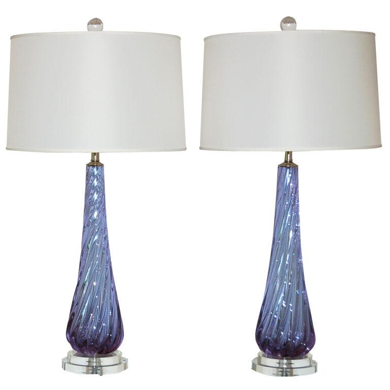 Soft Lavender Swirl Vintage Murano Alexandrite Lamps
