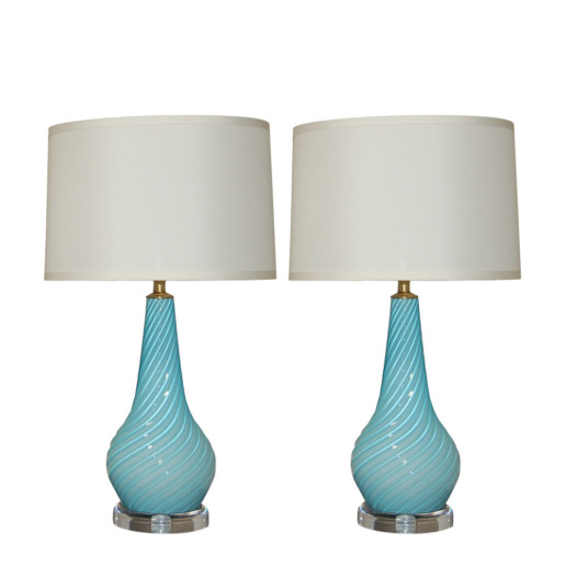 Swirled & Ribbed Baby Blue Murano Lamps on Lucite