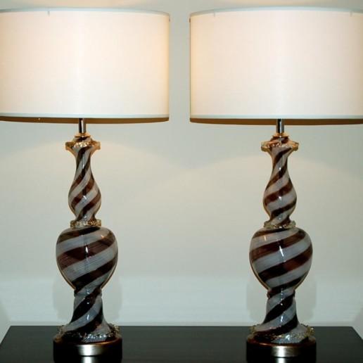 Dino Martens - Tuxedo Filigrana on Silver Leaf Murano Lamps