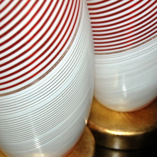 Dino Martens - Candy Cane Swirled Filigrana Murano Lamps