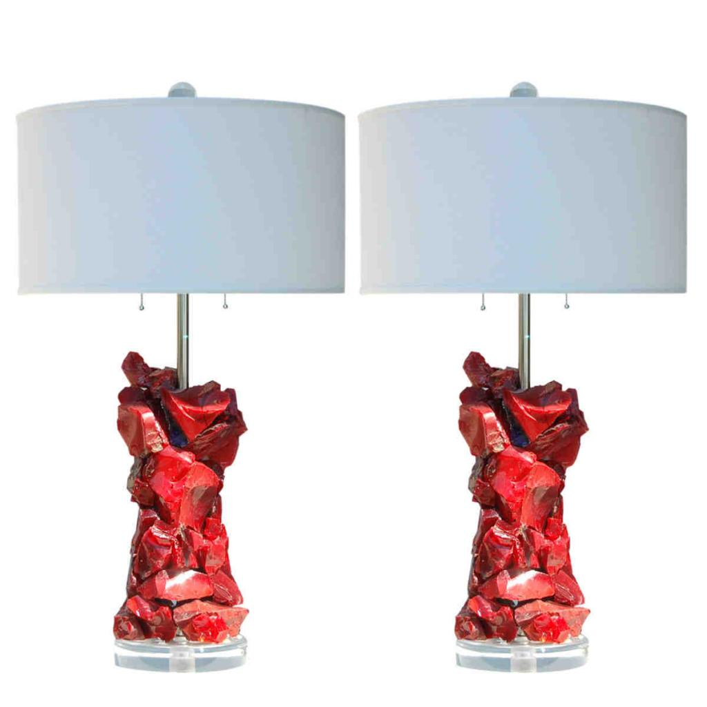 Rock Candy Glass Table Lamps In Red Swank Lighting