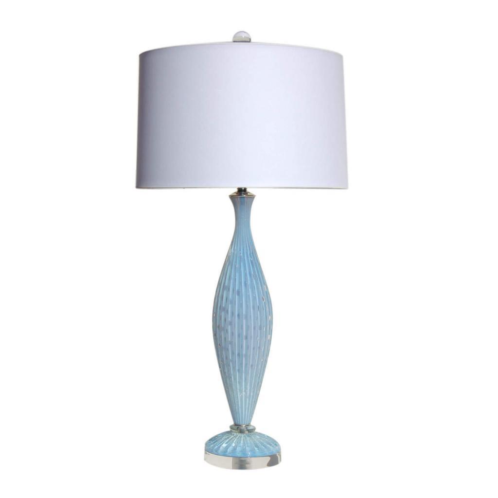Alfredo Barbini - Blue Opaline Murano Lamp on Lucite Base