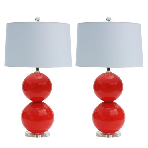 Hand Blown Pair of Two Ball Lamps by Joe Cariati in Vermillion