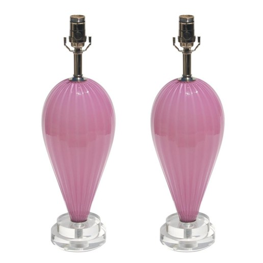 Hand Blown Pair of Small Teardrops by Joe Cariati in Lavender Berry