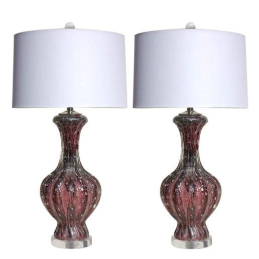 Purple Murano Lamps with Silver Inclusion