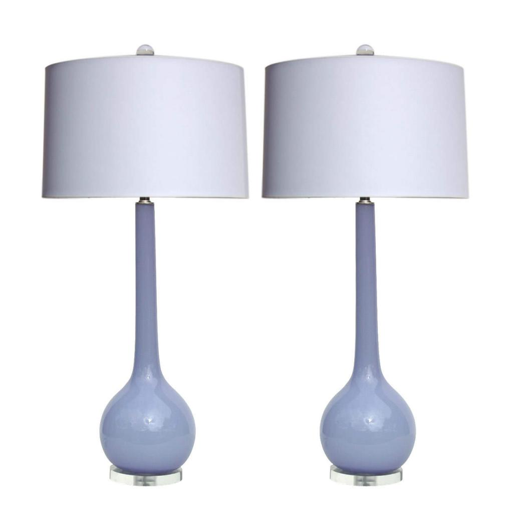 PLong-Necked Murano Table Lamps in Lavender