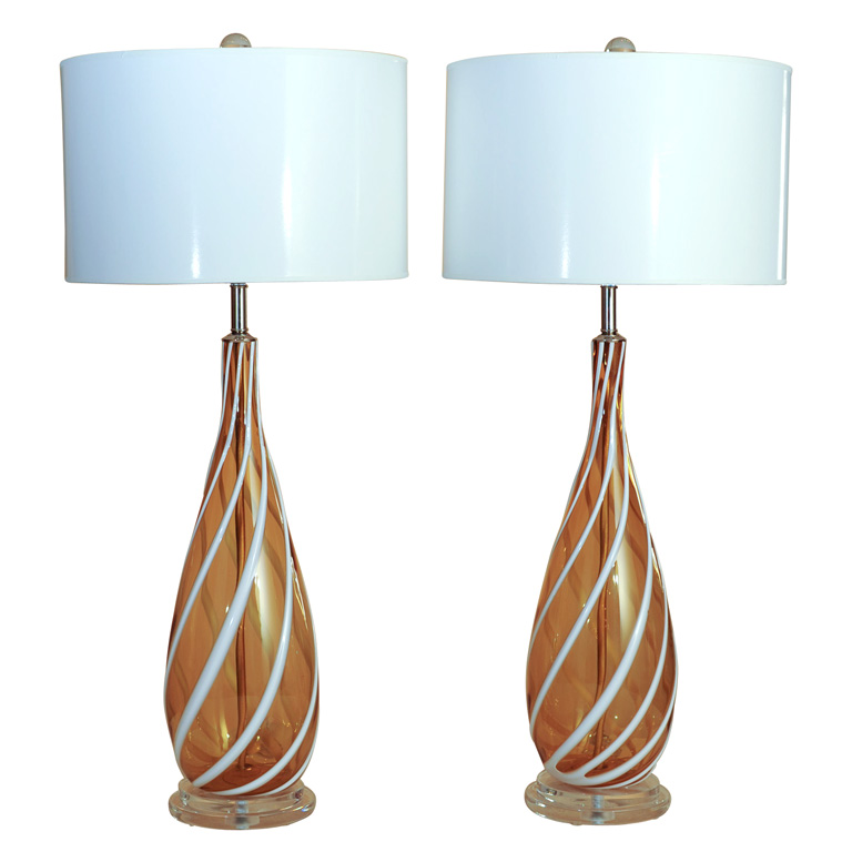 AVEM - Butterscotch with White Candy Cane Swirl Stripes of Applied Glass