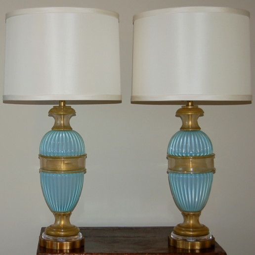 The Marbro Lamp Company - Blue Opaline Murano Glass Table Lamps