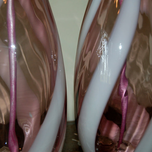 Vintage Murano Lamps in Grape with White Swirl Ribbons