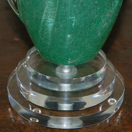Coke Bottle Green Pulegoso Murano Table Lamps