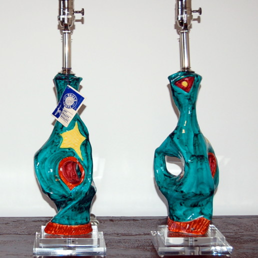 Deruta - Abstract Ceramic Cubism Lamps from 1950's