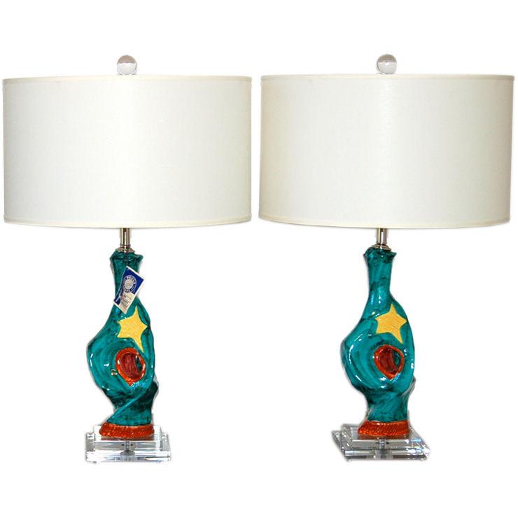Vintage Deruta Italian Ceramic Table Lamps Turquoise Swank Lighting