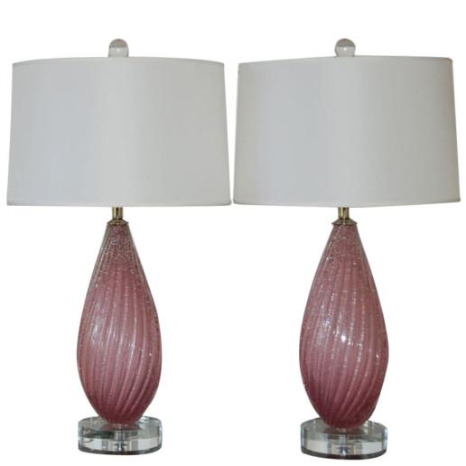 Orchid Melon Pulegoso Vintage Murano Lamps
