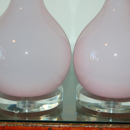 Handblown Murano Long Neck Table Lamps in Orchid