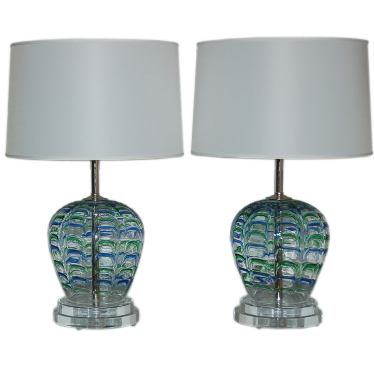 AVEM - Vintage Murano Lamps with Blue & Green Applied Drips