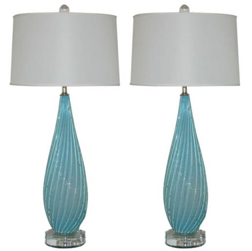 Murano Lamps of Sky Blue