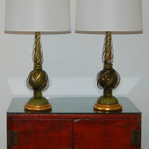 Marbro Lamp Company - Murano Lamps of Avocado Green
