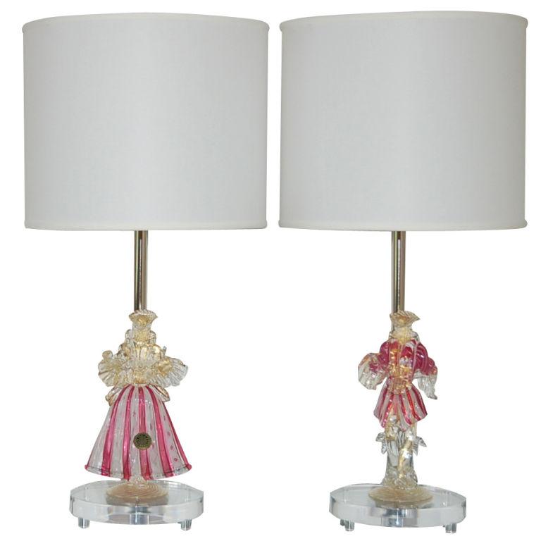 Murano Figurine Lamps in Cherry