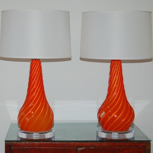 Vintage Murano Lamps in Orange