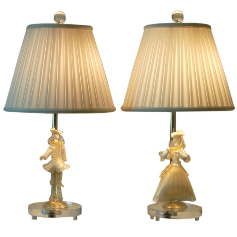Murano Figurine Lamps in Gold