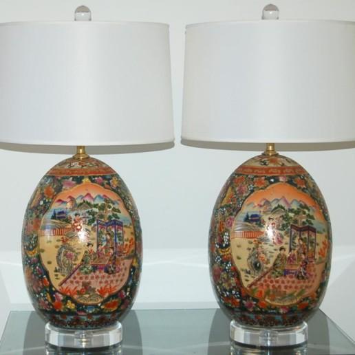 Vintage Satsuma Style Egg Lamps - X Large