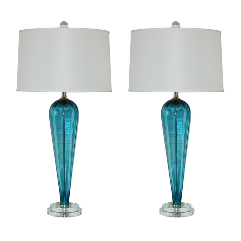 Teal Blue Vintage Murano Table Lamps