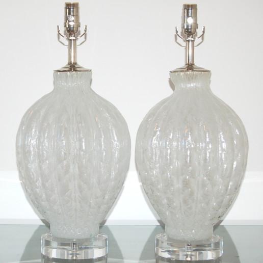 Murano Pulegoso Diamond Pattern Lamps in White Ice