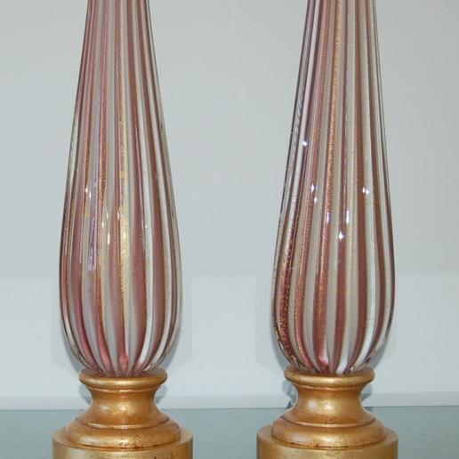 Vintage Murano Elegant Pair of Striped Lamps in Plum and Cream
