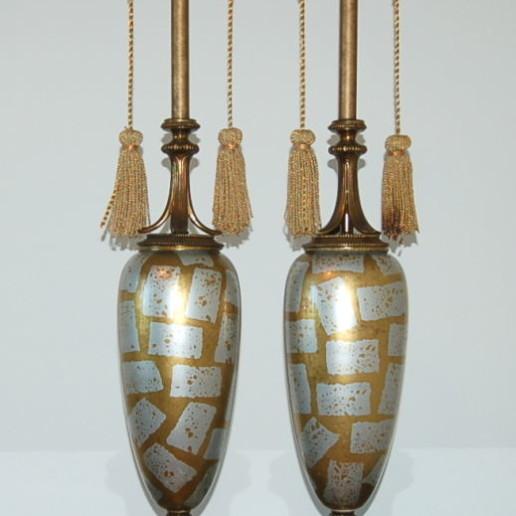 Statuesque Mid Century Eglomise Glass Lamps