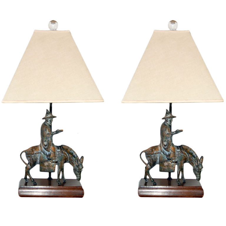 Vintage Patinated Bronze Sculpture Lamps by Frederick Cooper