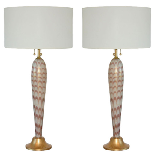 Barovier & Toso - Murano Pulled Feather Table Lamps