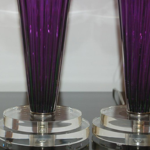 Hand Blown Pair of Glass Lamps by Joe Cariati in Violet